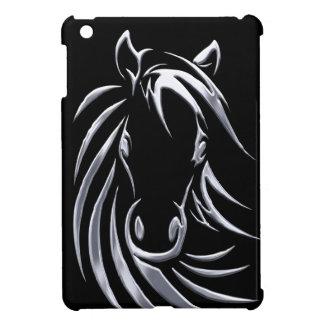 Silver Horse Head on Black Case For The iPad Mini