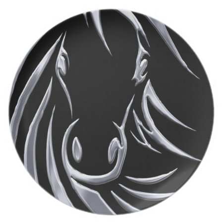 Silver Horse Head on Black Dinner Plate