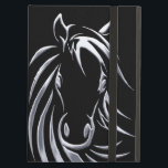 """Silver Horse Head on Black iPad Air Cover<br><div class=""""desc"""">Metallic look to this simple sketch of a horse head. This image pops from the page because of a black background.</div>"""