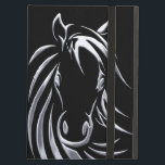 "Silver Horse Head on Black iPad Air Cover<br><div class=""desc"">Metallic look to this simple sketch of a horse head. This image pops from the page because of a black background.</div>"