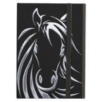 Silver Horse Head on Black iPad Air Cover