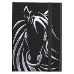 Silver Horse Head on Black iPad Air Cover