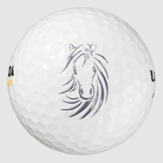 Silver Horse Head Pack Of Golf Balls