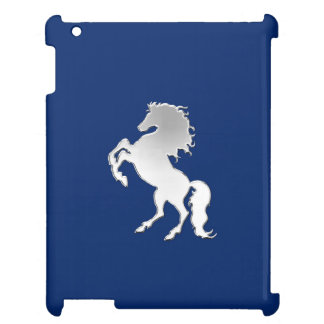 Silver Horse on Navy Blue Cover For The iPad 2 3 4