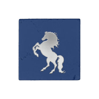 Silver Horse on Navy Blue Stone Magnet