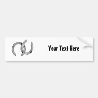 Silver Horse Shoes Customizable Bumper Sticker