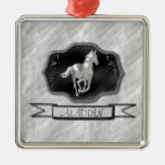 Silver Horse Square Metal Christmas Ornament