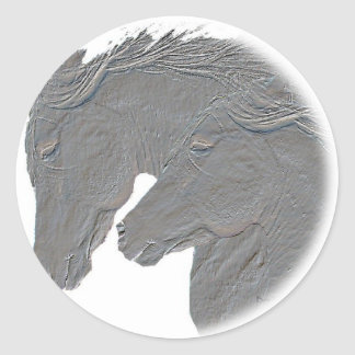 Silver Horses Classic Round Sticker