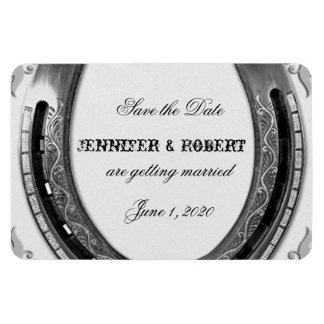 Silver Horseshoe on White Wedding Save the Date Rectangle Magnets