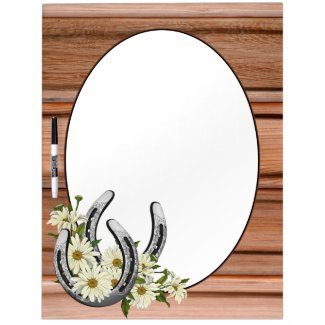 Silver Horseshoes & Daisies Dry Erase Board