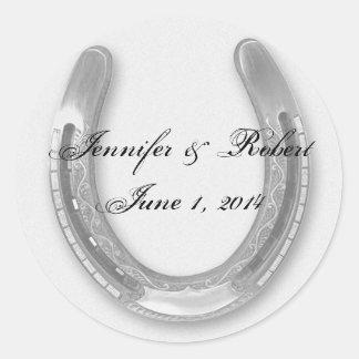 Silver Horseshow on White Wedding Envelope Seal Classic Round Sticker