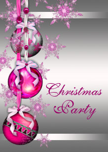 Silver Hot Pink Snowflakes Christmas Party Invitation
