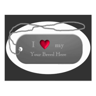 Silver I Love my Dog Dogtag Style template Postcard