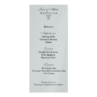 Silver ice menu for weddings and gala card