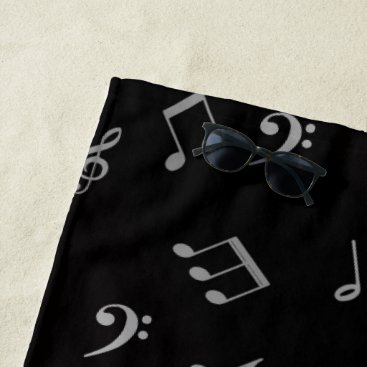 Beach Themed silver in black music notes beach towel