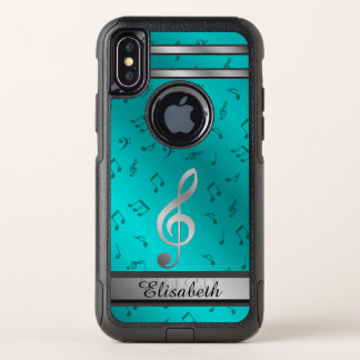 silver in blue music notes otter box OtterBox commuter iPhone x case