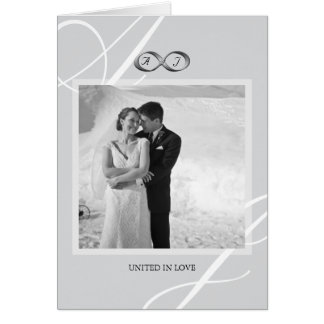 Silver Infinity Hand Clasp Wedding Photo Thank You Greeting Card