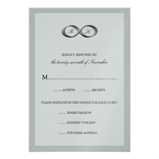 Silver Infinity Hand Clasp Wedding RSVP Card Custom Invites