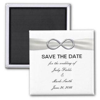 Silver Infinity White Wedding Save The Date Magnet