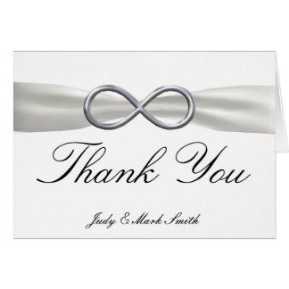 Silver Infinity White Wedding Thank You Card