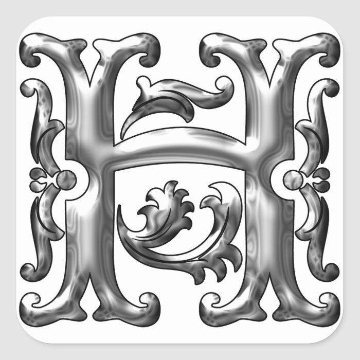 Silver Letter H: Silver Initial H Capital Letter Sticker
