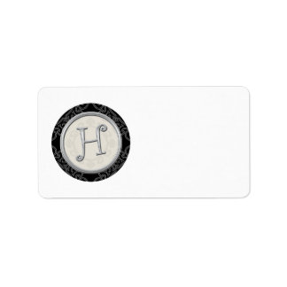 Silver Initial H Monogrammed Address Labels