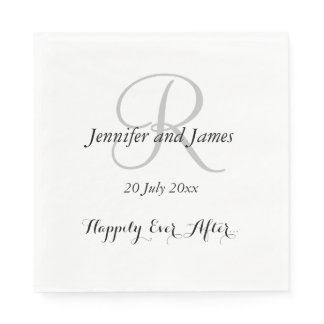 Silver Initial Names | Wedding Paper Napkins