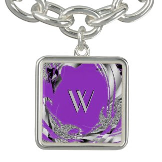 Silver Initial Orchid Charm Bracelet