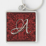 Silver Initial Red Renaissance Keychain