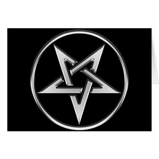 Silver Inverted Pentagram Card