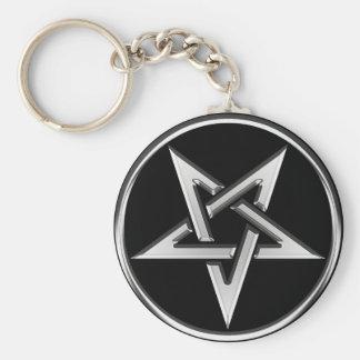 Silver Inverted Pentagram Keychain