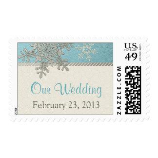Silver Ivory Blue Snowflake Winter Wedding Postage