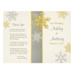Silver Ivory Gold Snowflake Winter Wedding Program Flyer