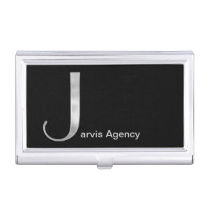 Silver J Monogram Case Business Card Holders