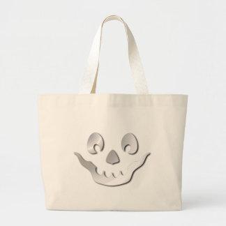 Silver JackOLantern Face Large Tote Bag
