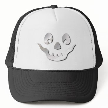 Halloween Themed Silver JackOLantern Face Trucker Hat