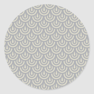 Silver Japanese Fish Scale Pattern Round Stickers
