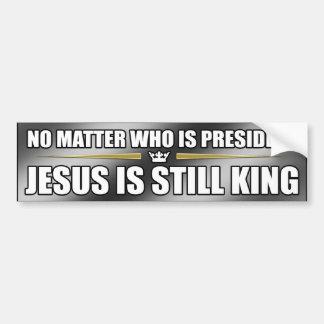 (Silver) Jesus Is Still King Bumper Sticker Car Bumper Sticker