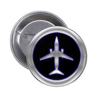 Silver Jet Aircraft Pinback Button