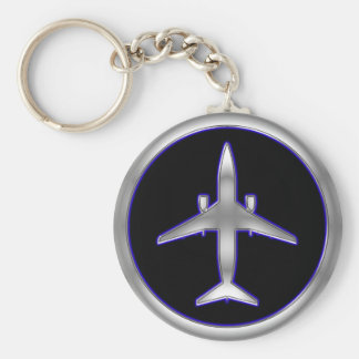 Silver Jet Aircraft Keychain