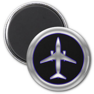 Silver Jet Aircraft Magnet