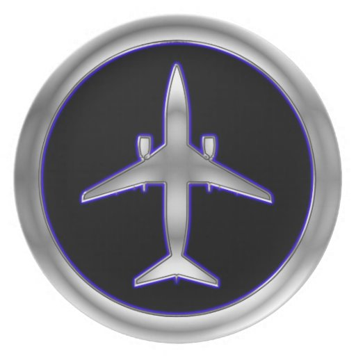 Silver Jet Aircraft Party Plate