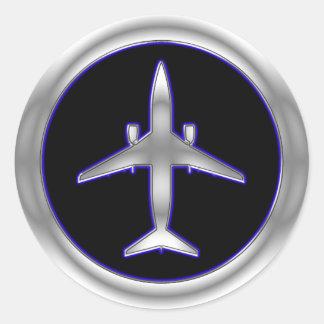 Silver Jet Aircraft Sticker