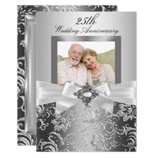 Silver Jewel Bow & Floral 25th Wedding Anniversary Invitation