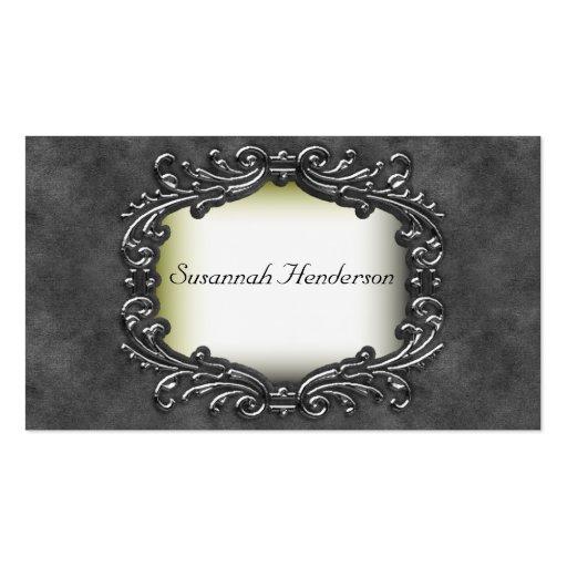 Silver Jewel on Grey Velvet Business Cards