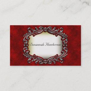 Velvet business cards zazzle silver jewel on red velvet business cards colourmoves