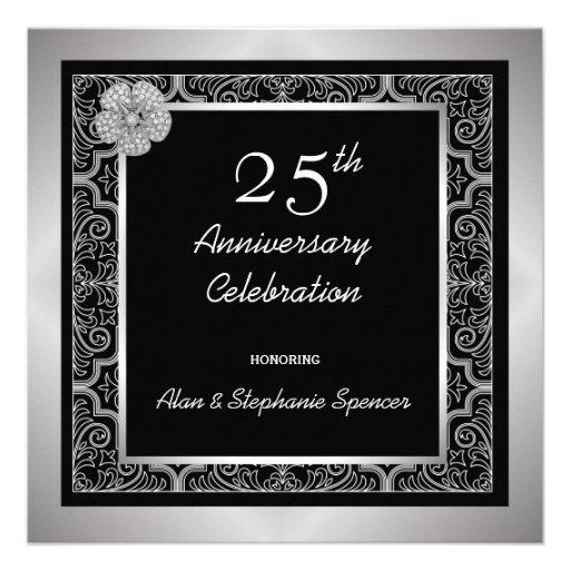 Silver Jeweled 25th Anniversary Celebration Invitations