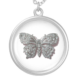 Silver Jeweled Butterfly Necklace