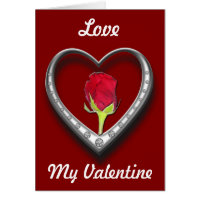 Silver Jewelry Valentine Heart with Red Rose Greeting Card