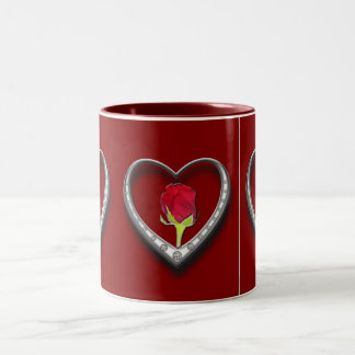 Silver Jewelry Valentine Heart with Red Rose Two-Tone Coffee Mug